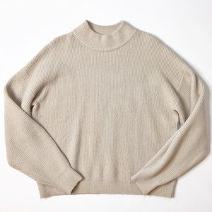 Leith Cream Mock Neck Pullover Sweater